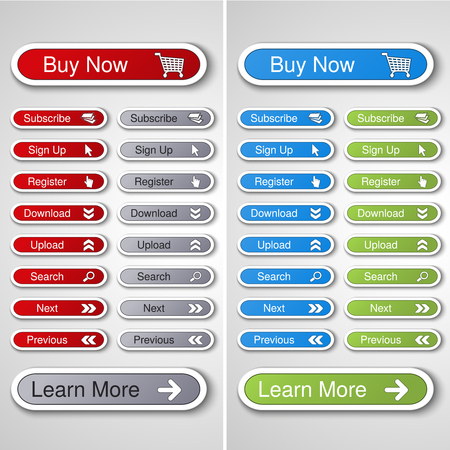 Vector buttons for website or app. Button - Buy now, Subscribe, Sign Up, Register, Download, Upload, Search, Next, Previous, Learn More - illustration Illustration