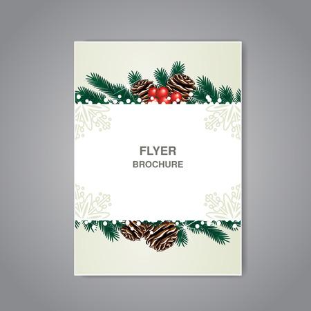 brochure noël vecteur avec des brindilles, des cônes et la neige, dépliant ou beige conception du livre, affiche, modèle de mise en page, cartes de Noël, cartes Nouvel An - illustration