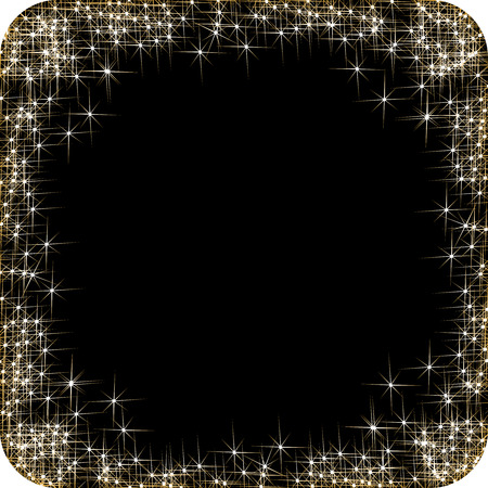 stars and symbols: Vector square frame with golden stars on the black background, sparkles golden symbols  - star glitter, stellar flare - illustration Illustration