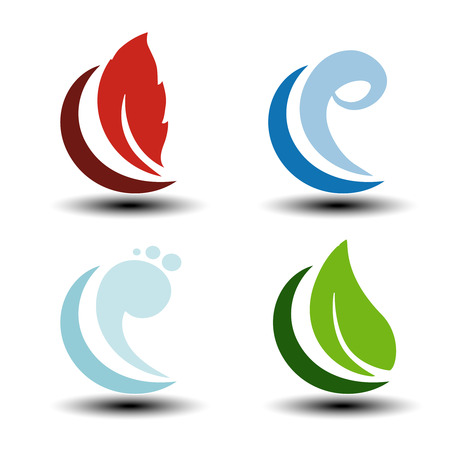 fire water: Vector natural symbols - fire, air, water, earth - nature icons with flame, bubble air, wave water and leaf. Elements of ecology sources, alternative energy. - illustration Illustration