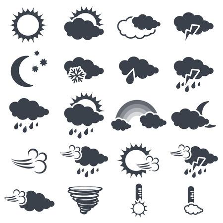 Vector Reihe von verschiedenen dunkelgrau Wettersymbole, die Elemente der Prognose - Symbol der Sonne, Wolken, regen, Mond, Schnee, Wind, Wirbelsturm, Regenbogen, Sturm, Tornados, Thermometer - Illustration Vektorgrafik