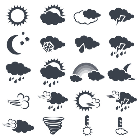 Vector set of various dark grey weather symbols, elements of forecast - icon of sun, cloud, rain, moon, snow, wind, whirlwind, rainbow, storm, tornado, thermometer - illustration