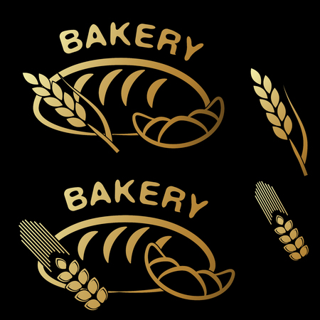 golden symbols: Vector bakery shop symbols. Golden simple icon of croissant, bread and spike grain on black background. - illustration