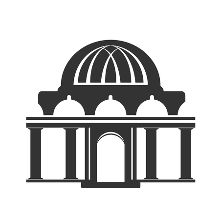historical building: Vector architecture building symbol, historical building, black icon of temple - illustration