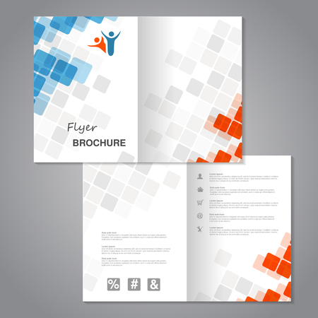 Vector modern brochure, abstract flyer with simple squared design. Aspect Ratio for A4 size. Poster of blue, grey, white and orange color. Layout template, magazine cover. - illustration
