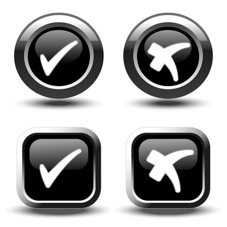 stickies: Vector black buttons with white simple check mark symbols, square and circle buttons - illustration Illustration