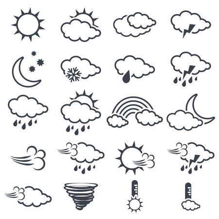 Vector conjunto de varios símbolos gris oscuro tiempo, elementos de pronóstico, diseño de la línea - icono del sol, nubes, lluvia, luna, nieve, viento, torbellino, arco iris, tormentas, tornados, termómetro - ilustración