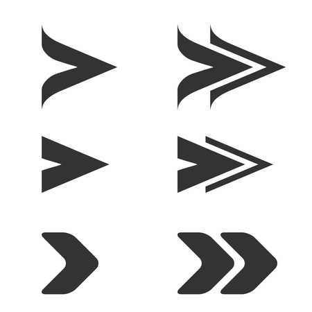 dart series: Vector black arrow symbols. Simple arrow buttons. Pointer on web. Sign of next, read more etc. - illustration Illustration