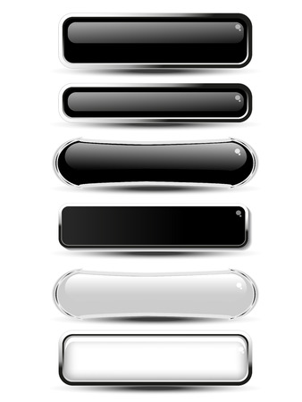 website buttons: Vector black, white rectangle and oval buttons for website or app. Blank monochrome labels for text Buy now, Subscribe, Sign Up, Register, Download, Upload, Search, Next, Previous, Learn More etc. - illustration