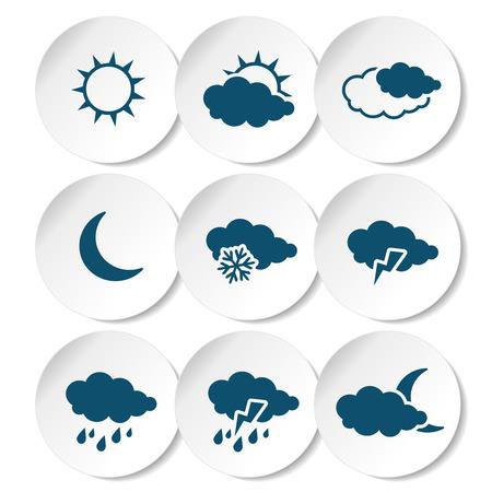 climatology: Vector set of white rounded stickers with dark blue weather symbols, elements of forecast - illustration