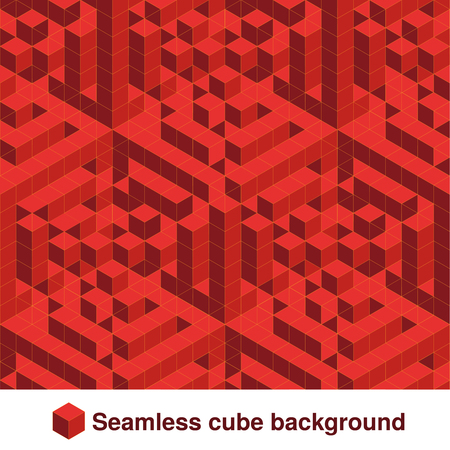 Seamless geometric texture in red color. Effect stylish tiles. 3d abstract dynamic background created of cubes. - illustration