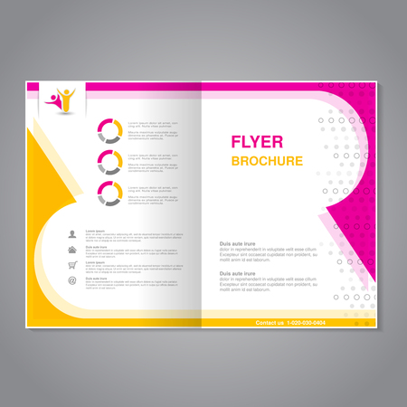 abstract pink: Vector modern brochure, abstract flyer with simple dotted design. Layout template. Aspect Ratio for A4 size. Poster of pink, yellow, grey and white color. Magazine cover with human symbol. - illustration