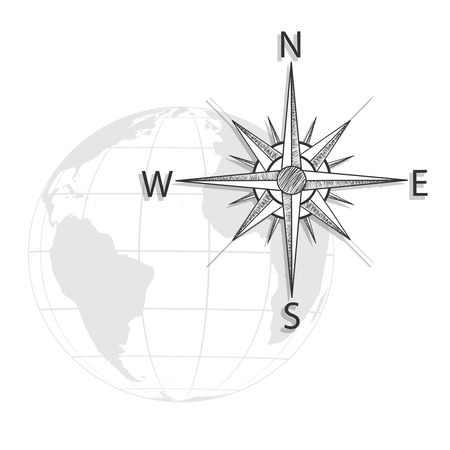 geodesy: Vector hand drawing compass on the globe, map - black, grey icon - illustration