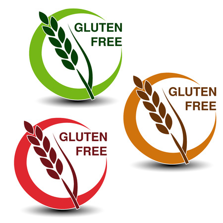 celiac: Vector gluten free symbols isolated on white background. Silhouettes spikelet in a circle with shadow. - illustration