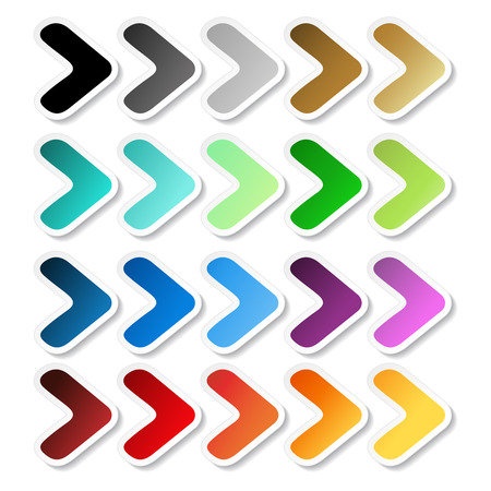 Vector arrow stickers. Black, grey, silver, dark, golden, cyan, turquoise, blue, green, purple, red, orange and yellow label with white outline. Simple buttons. - illustration Illustration