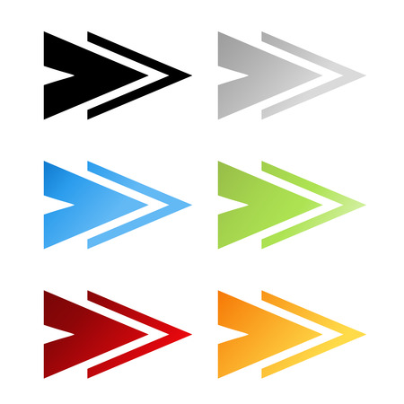 sign orange: Vector black, grey, blue, green, red and orange arrow symbols. Simple arrow buttons. Pointer on web. Sign of next, read more, play, go etc. - illustration