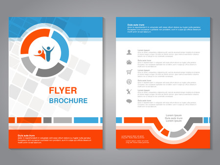 Vector modern brochure, abstract flyer with simple squared design. Layout template. Aspect Ratio for A4 size. Poster of blue, orange, grey and white color. Magazine cover with human symbol. - illustration