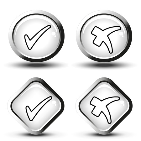 Vector white buttons with black line simple check mark symbols, square and circle buttons - illustration