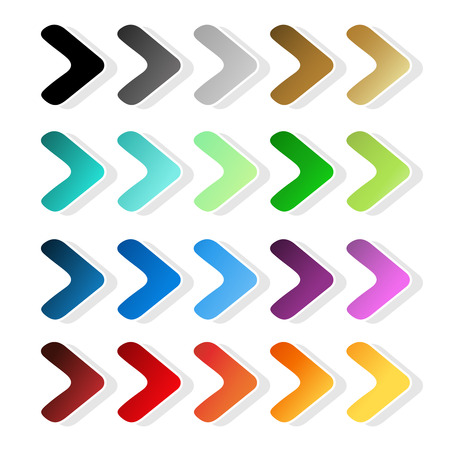 Vector arrow symbols. Black, grey, silver, dark, golden, cyan, turquoise, blue, green, purple, red, orange and yellow label. Simple arrow buttons. Pointer on web. Sign of next, read more, play, go etc. - illustration