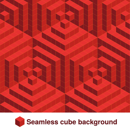red abstract: Vector squared pattern. Seamless geometric texture in red color. Effect stylish tiles. 3d abstract dynamic background created of cubes. - illustration