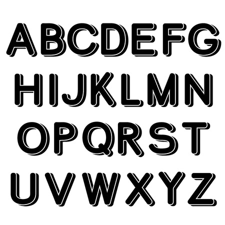 upper: Vector 3D black font alphabet - simple capital letters - illustration