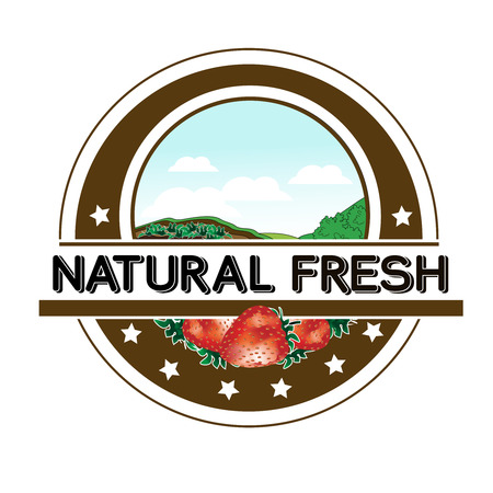 circle design: Vector symbol - natural fresh label - nature abstract element with strawberry, bio organic simple design in the circle - illustration Illustration