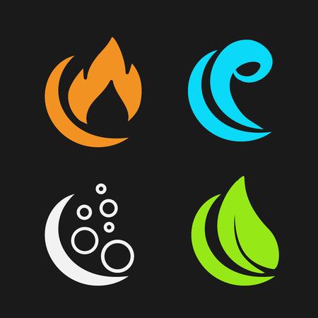 Vector de cuatro elementos naturales - fuego, aire, agua, tierra - símbolos de la naturaleza con la llama, la burbuja de aire, el agua de las olas y la hoja - ilustración Ilustración de vector