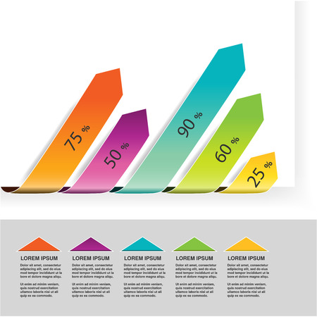 Vector elements infographics, diagram with arrows, simple colorful graph percent, 5 step timeline indicator, bar graph, chart process steps - illustration