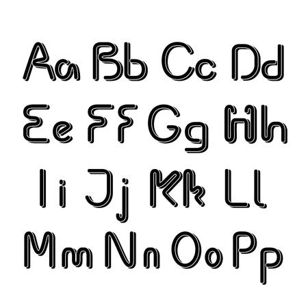 letras negras: Vector 3D negro alfabeto fuente - simple de capital minúsculas - ilustración Vectores