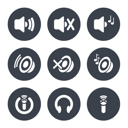 headphone: Vector set of sound icon - speaker with volume indicator and music, microphone and headphone - illustration Illustration