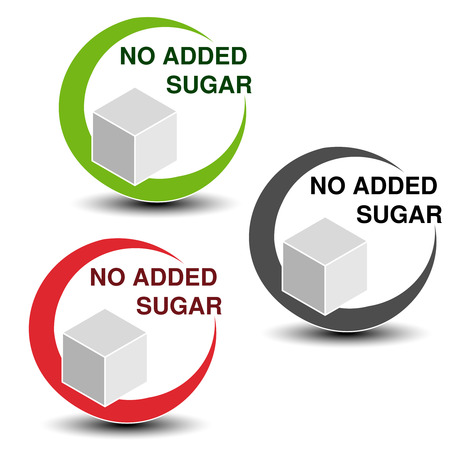 Vector no added sugar symbols isolated on white background. Silhouettes cube of sugar in a circle with shadow. - illustration Illustration