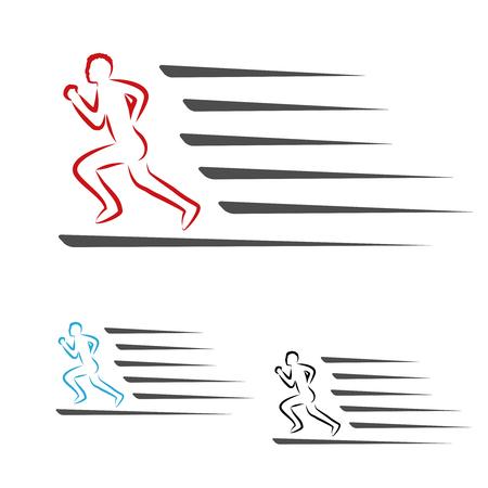 Vector de velocidad de símbolos del paquete de entrega o icono de velocidad de descarga y subida, símbolo del hombre corriendo, corredor - ilustración