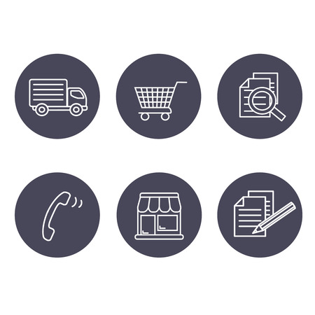web icon: Vector shop symbols, navigation - stores, how to purchase, terms and conditions, contact, sign in and register, shipping, grey circular button - illustration