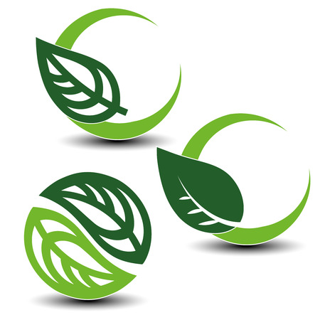 elements of nature: Vector nature circular symbols with leaf, natural simple elements, green eco labels with shadow - set 2 - illustration Illustration