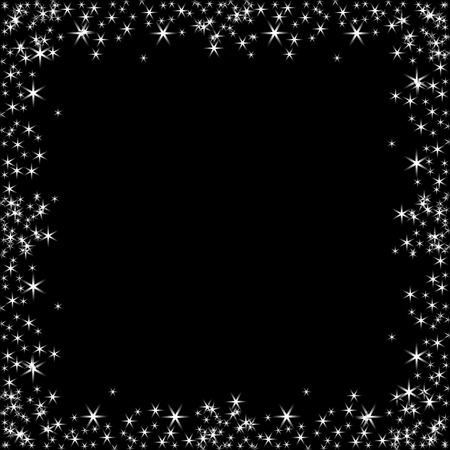 Vector square frame with white stars on the black background, sparkles golden symbols  - star glitter, stellar flare - illustration