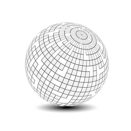 disco symbol: Vector globe symbol - 3d icon of sphere, squared pattern on the sphere - illustration Illustration