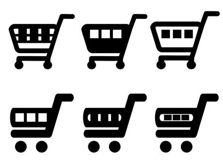 add: Vector black simple shopping cart, trolley, add to cart item, buy button - illustration