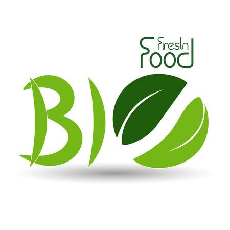 fresh leaf: Vector natural symbols, nature bio fresh food icon with leaf - illustration