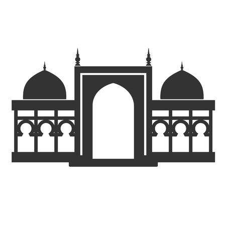 historical building: Vector architecture building symbol, historical building, black icon of simple temple - illustration