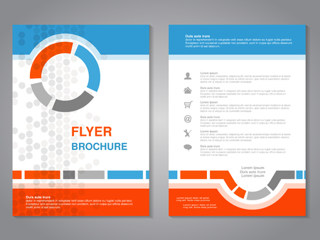 Vector modern brochure, abstract flyer with simple dotted design. Layout template. Aspect Ratio for A4 size. Poster of blue, orange, grey and white color. Magazine cover. - illustration Illustration