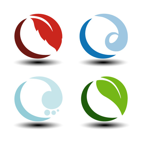 alternative energy sources: Vector natural symbols - fire, air, water, earth - nature circular icons with flame, bubble air, wave water and leaf. Elements of ecology sources, alternative energy. - illustration Illustration