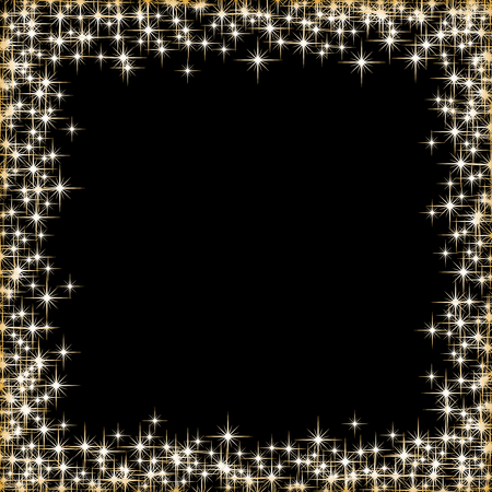 stars and symbols: Vector frame with golden stars on the black background, sparkles golden symbols  - star glitter, stellar flare - illustration