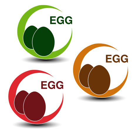 Vector egg free symbols isolated on white background. Silhouettes eggs in a circle with shadow. - illustration Illustration