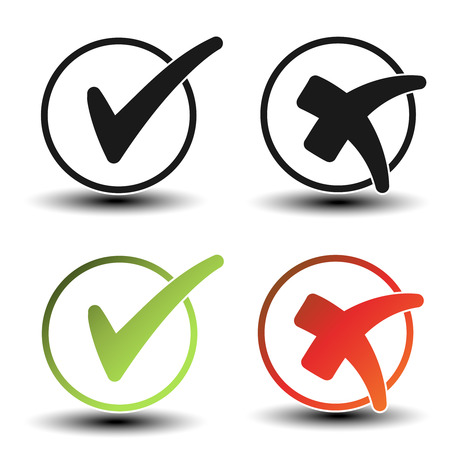 removal: Vector check mark black, green and red simple symbols, circular buttons with shadow - illustration Illustration