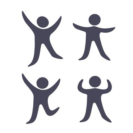 Vector simboli umani neri - icone semplici di figura, fitness uomo silhouette - illustrazione