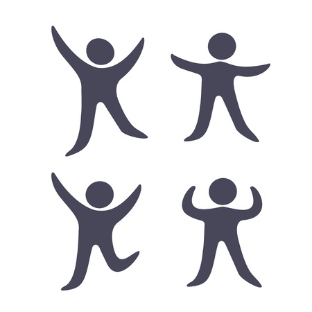 silueta humana: Vectores negro símbolos humanos - iconos simple figura, fitness silueta del hombre - ilustración Vectores