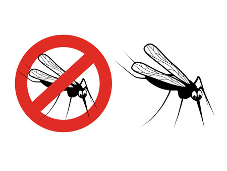 contagion: Vector mosquito isolated on white background. Gnat silhouette. Symbol of Stop flying insects. Sign of ban on a mosquito repellent. - illustration
