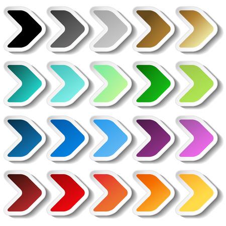 pegatinas flecha del vector. Negro, gris, plata, negro, oro, cian, turquesa, azul, verde, morado, rojo, naranja y amarillo etiqueta con el esquema blanco. botones simples. - ilustración