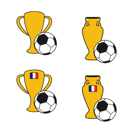 Vector set of soccer cup, icon of European football,  golden symbol of championship in France, icons with ball - illustration Illustration