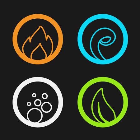 Vector de cuatro elementos naturales - fuego, aire, agua, tierra - naturaleza símbolos circulares con la llama, la burbuja de aire, el agua de las olas y de las hojas - ilustración